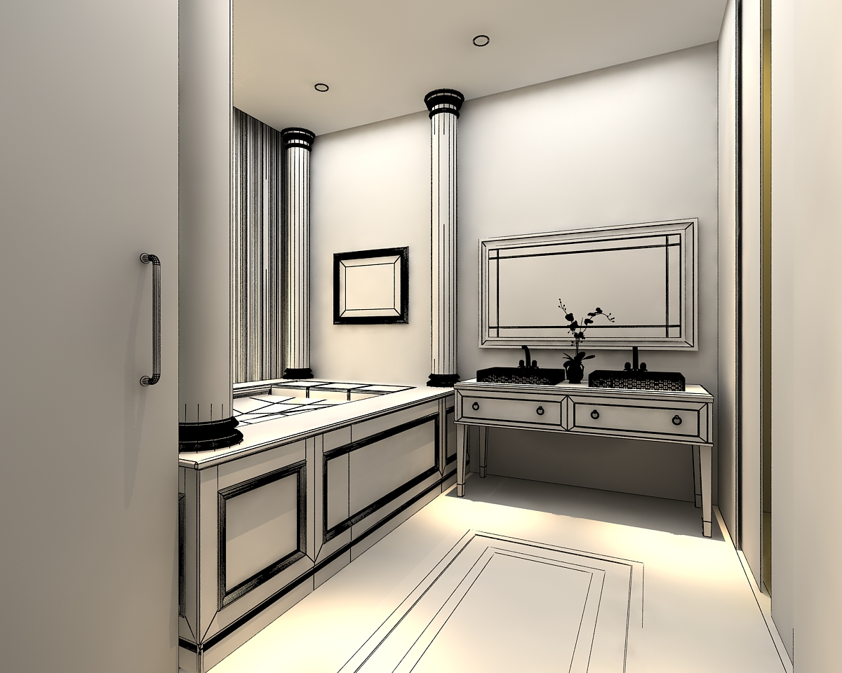 3d models photoreal bathroom 3d model max for Model bathrooms photos
