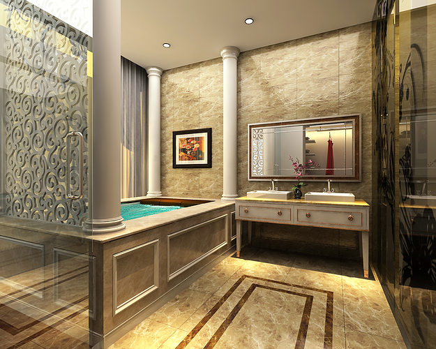 3d models photoreal bathroom cgtrader for Bathroom models photos