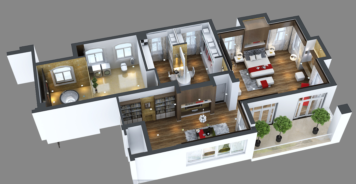 Photoreal Bedroom Floor Apartment 3d Model Max Fbx C4d 1 ...