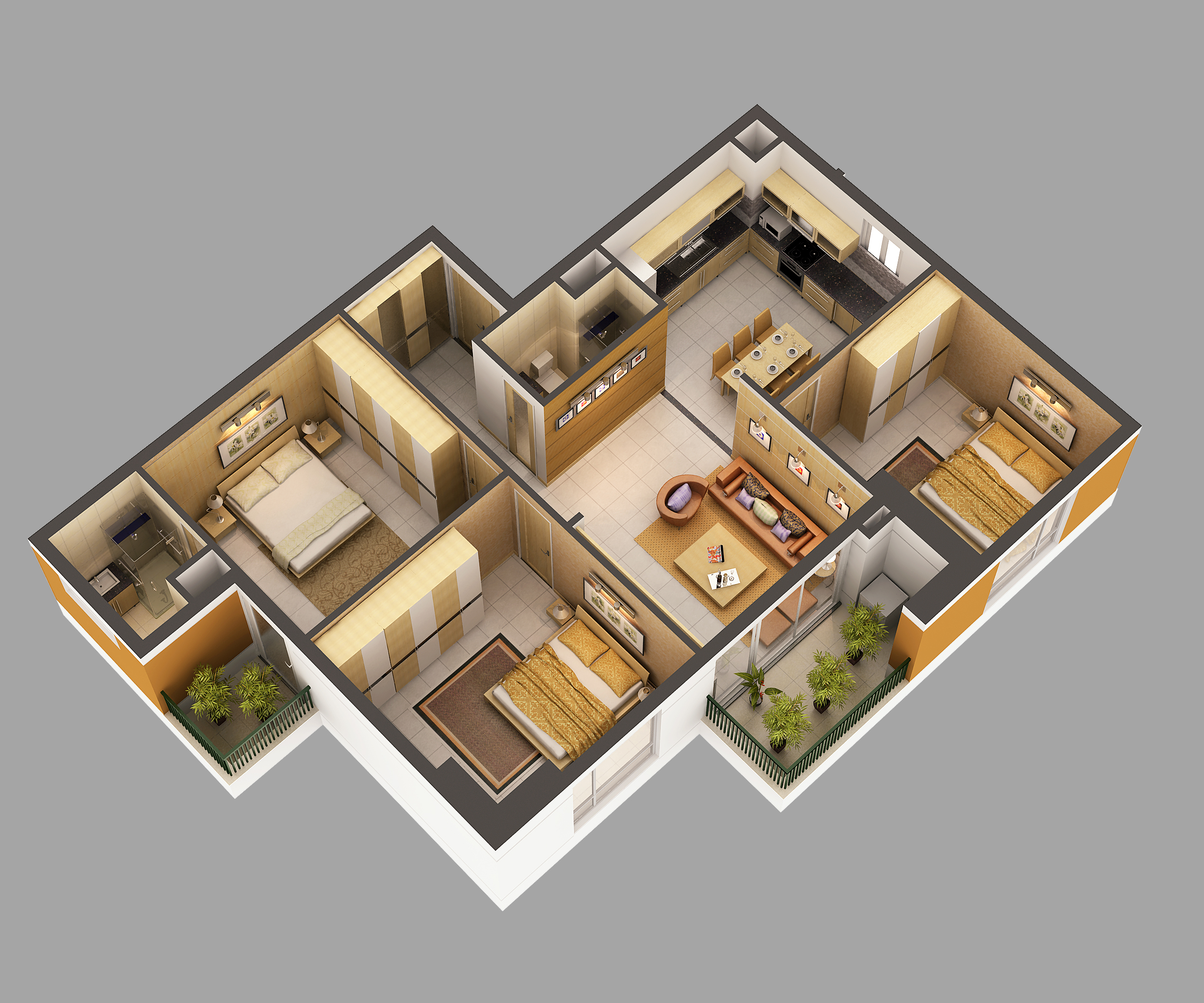 3d Model Home Interior Fully Furnished 3d Model Max 1 ...