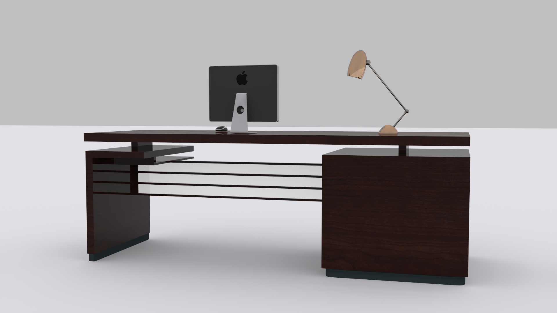3d model computer desk vr ar low poly max fbx for Office table 3d design