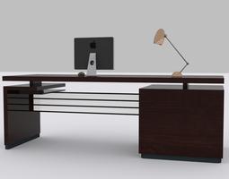 computer desk low-poly 3d asset