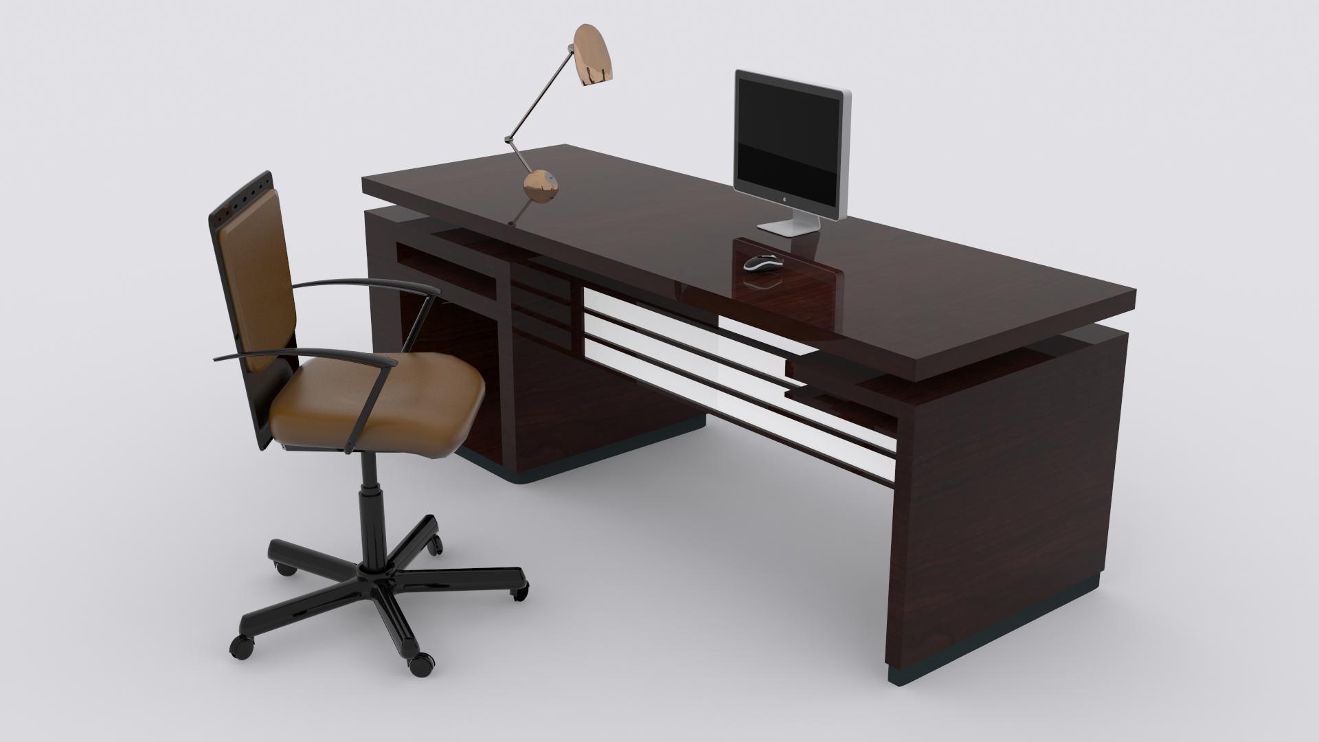 Computer Desk 3d Model Max Obj Fbx Mtl 2
