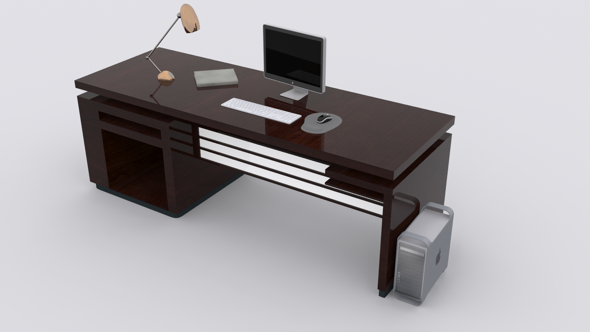 3d model computer desk vr ar low poly max fbx