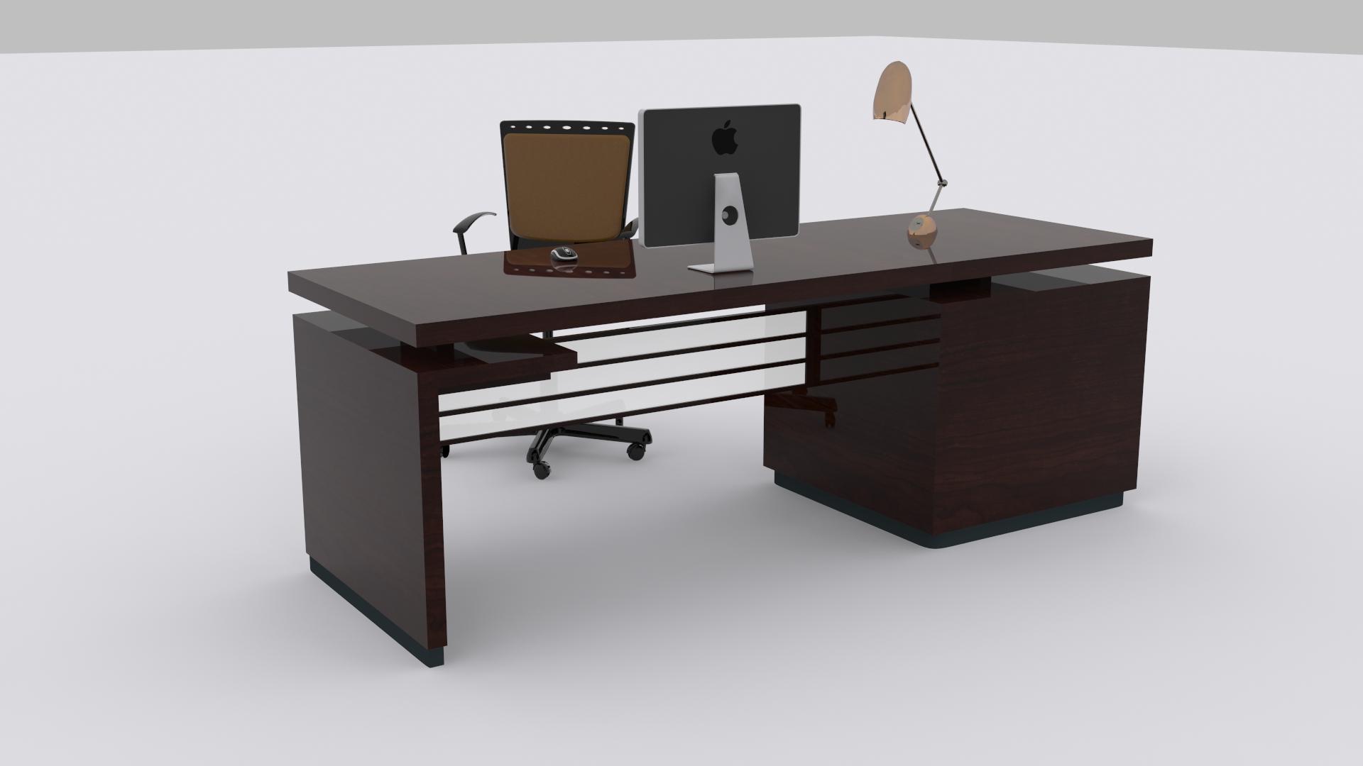 ... Computer Desk 3d Model Max Obj Fbx Mtl 6 ...