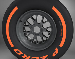 f1 tyre hard front 3d model