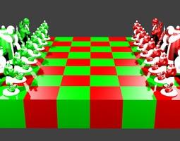 3d print model north pole vs south pole christmas chess set