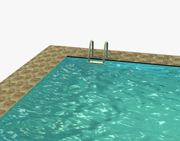 VR / AR ready 3d asset low poly swimming pool