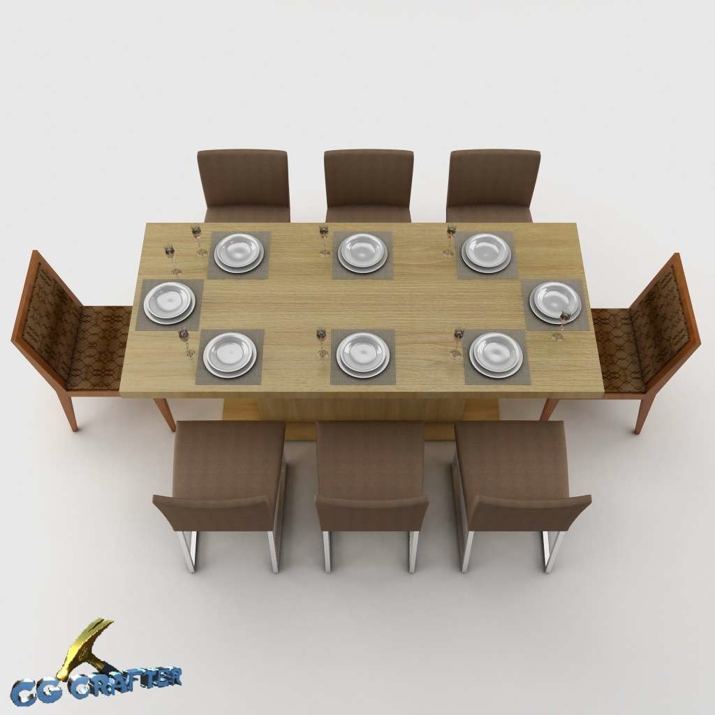 Dining table set 3d model max 3ds fbx mtl for Dining room table 3ds max