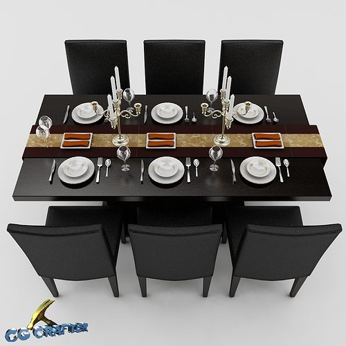Dining table set 01 3D Model MAX OBJ 3DS FBX CGTradercom : dining table set 01 3d model max obj 3ds fbx from www.cgtrader.com size 500 x 500 jpeg 56kB