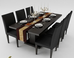 Furniture set 3d models download 3d furniture set files for Dining room 3d max model