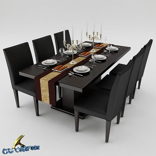 dining table set 3d model max obj 3ds fbx mtl 1