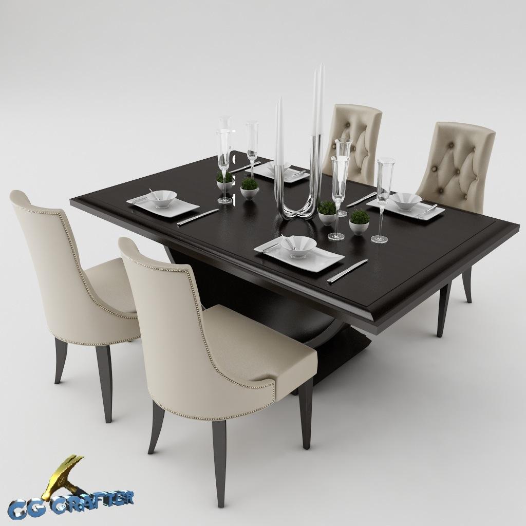 Dining Table Set 3d Model Max Obj 3ds Fbx Mtl