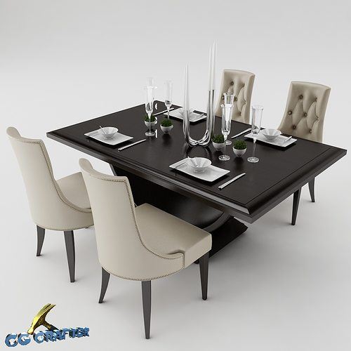 3d model dining dining table set cgtrader. Black Bedroom Furniture Sets. Home Design Ideas