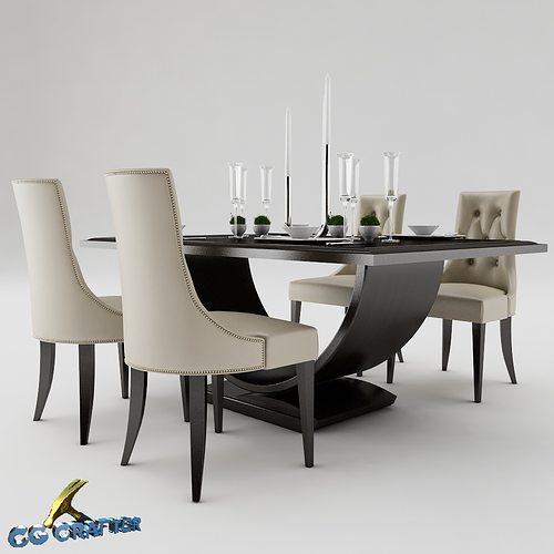 Dining table set 3d model max obj 3ds fbx mtl for Kitchen set 3ds max