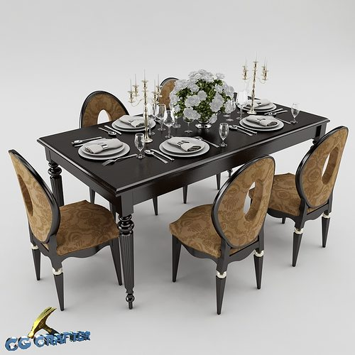 3d model dining table set dining table cgtrader for Dining table models
