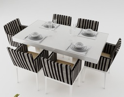 3d model dining table set