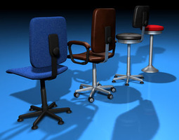 Office chairs collection 3D