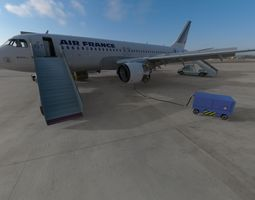 3D Airbus A320 Air France aircraft with Ground