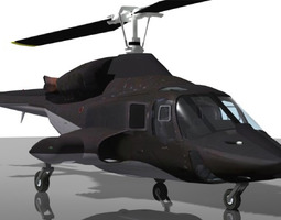 Airwolf Bell 222 Helicopter 3D Model
