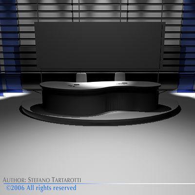 Tv News Studio 3d Model Obj 3ds C4d Dxf 1