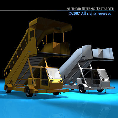 airport stairs vehicle 3d model obj 3ds c4d dxf 1