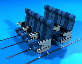 3D model Plane train seats