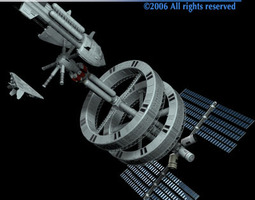 space station with spaceships 3d
