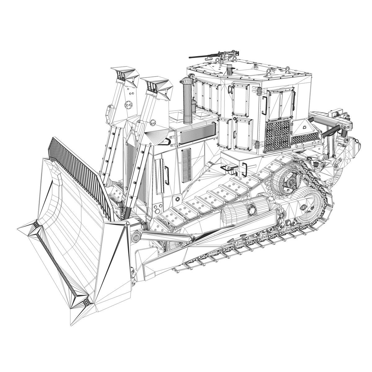 armored d9r bulldozer doobi 3d model obj 3ds fbx c4d lwo