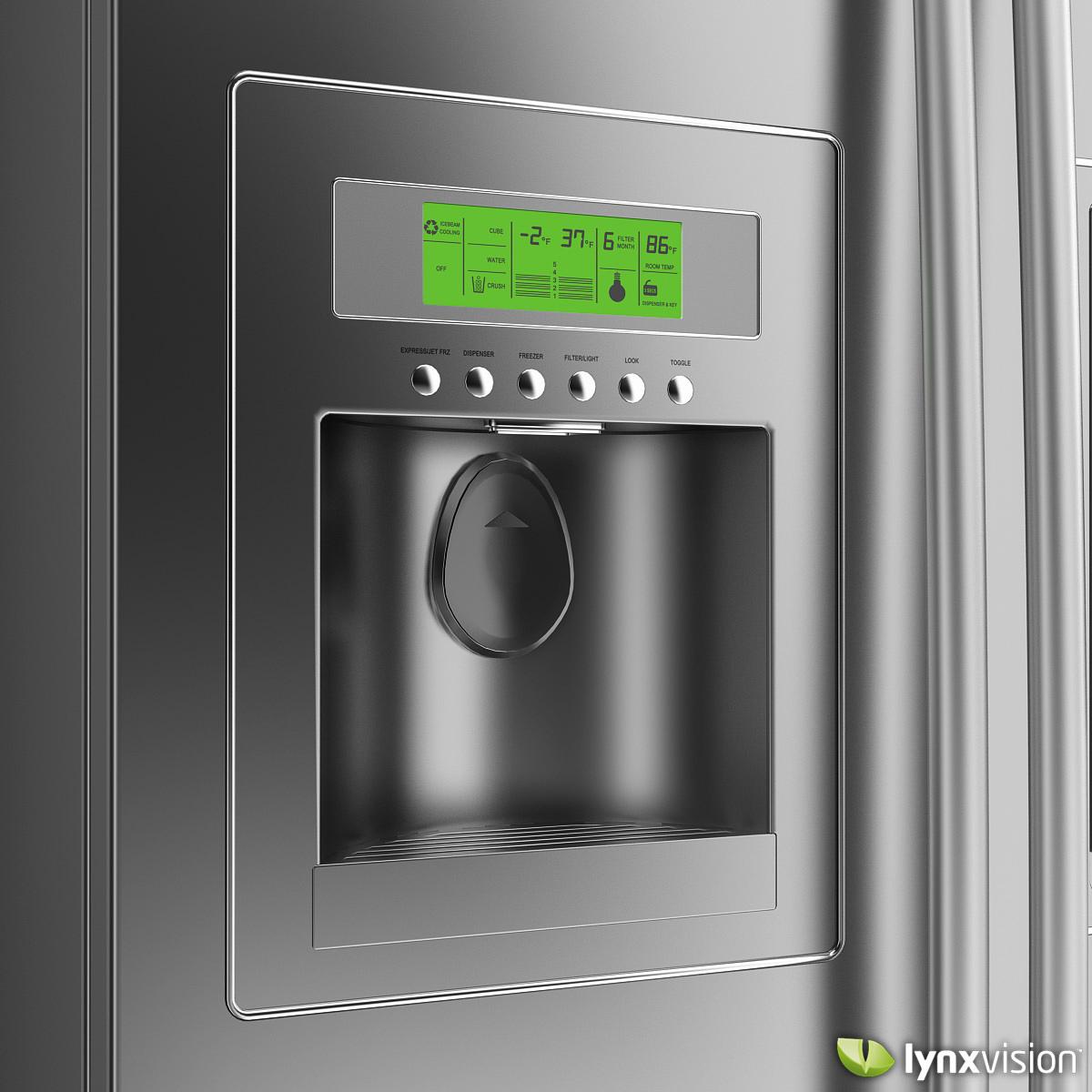lg side by side refrigerator 3d model max obj fbx. Black Bedroom Furniture Sets. Home Design Ideas