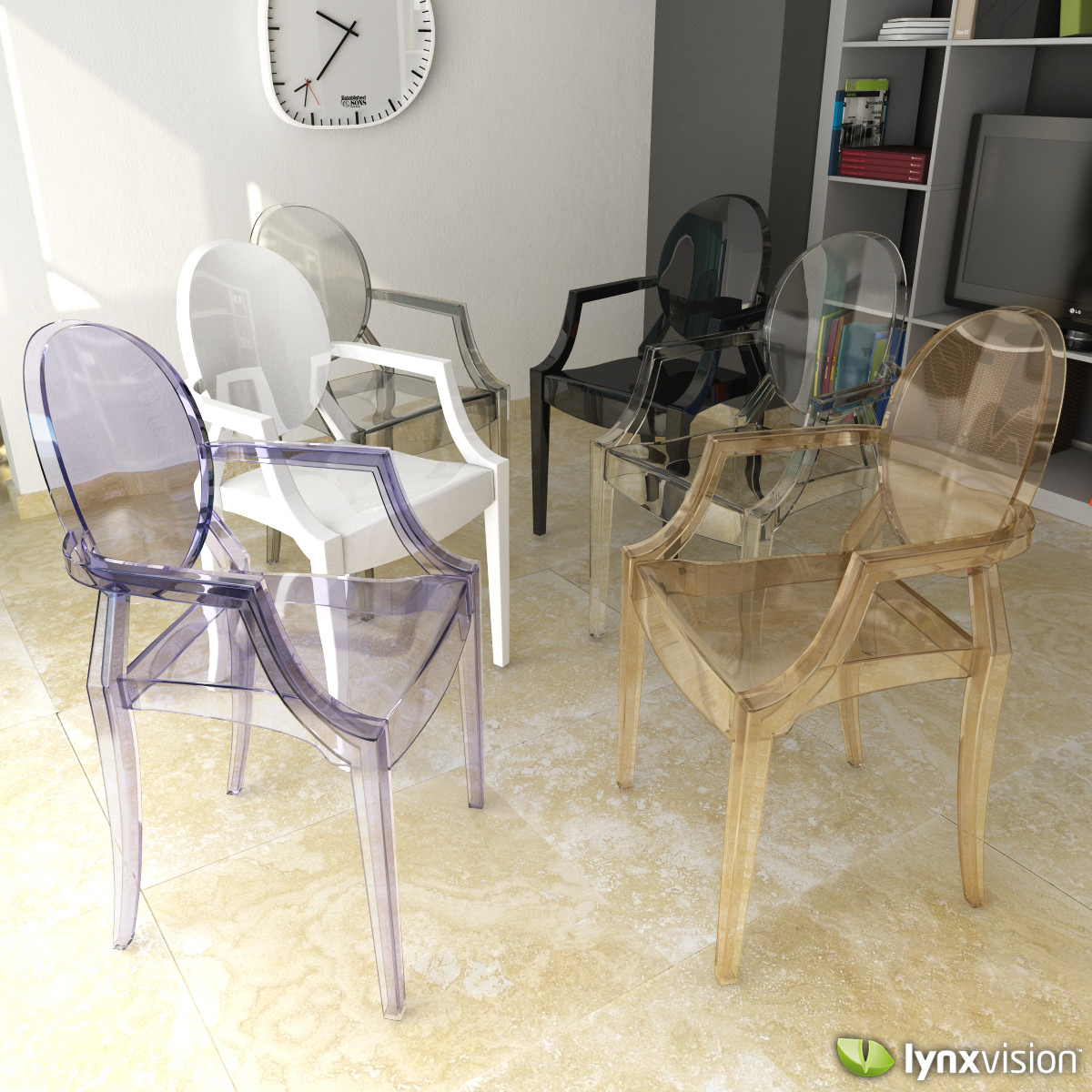 louis ghost armchair by philippe starck 3d model max obj 3ds fbx. Black Bedroom Furniture Sets. Home Design Ideas