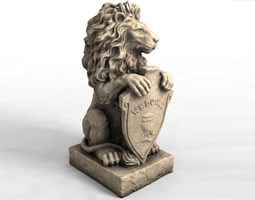 3d models garden statue lion with welcome sign