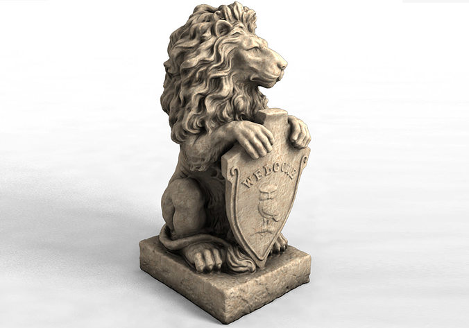 3d models garden statue lion with welcome sign 3d model max obj mtl stl 1