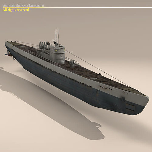 type ix u-boat submarine 3d model max obj 3ds fbx c4d dxf 15