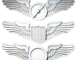 details Wings badges 3D model