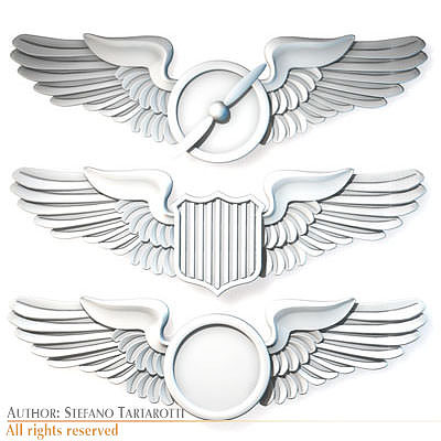 wings badges 3d model obj 3ds c4d dxf 1