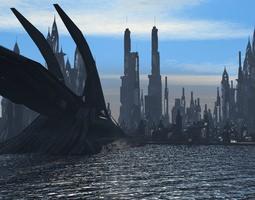Scifi City Buildings 3D model