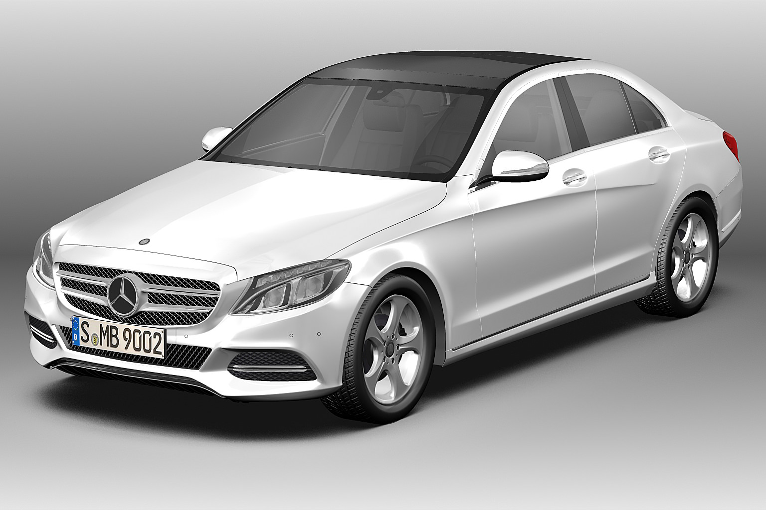 2014 mercedes benz c class 3d model max obj 3ds fbx c4d