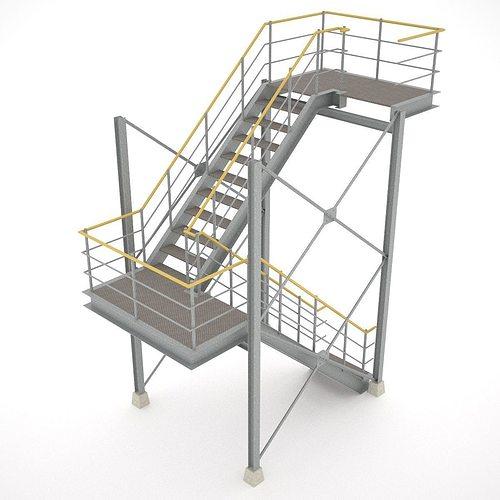 industrial stairs - 01 3d model obj 3ds fbx hrc xsi dae skp 1