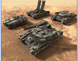 3d model low-poly scifi army ground units 01