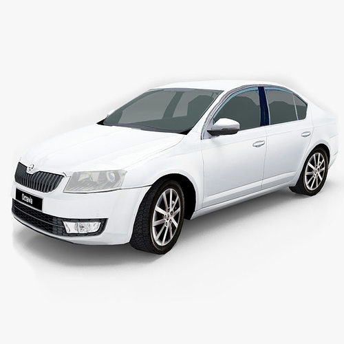 skoda octavia 2013 3d model low-poly max obj mtl fbx 1