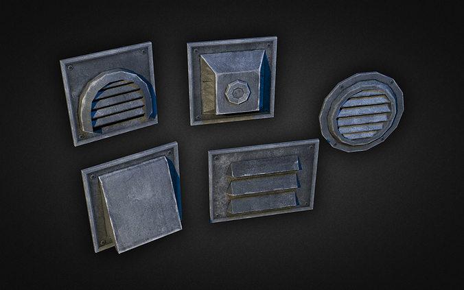 wall vents pack 01 3d model low-poly max obj mtl 3ds fbx dxf dwg 1