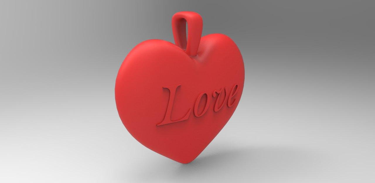 Heart Love Pendant 3D Model 3D Printable MAX OBJ STL