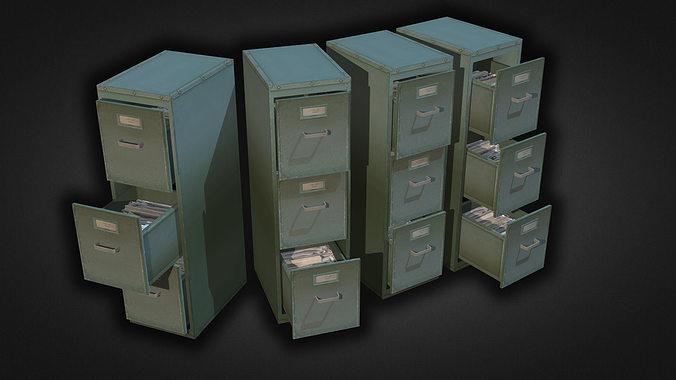 file cabinet 3d model low-poly max obj mtl 3ds fbx dxf dwg 1