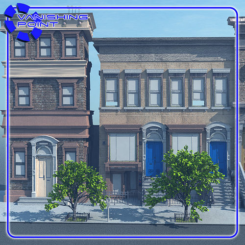 Brownstone street scene 1 for vue 3d model rigged vue for Architecture 3d vue 3d