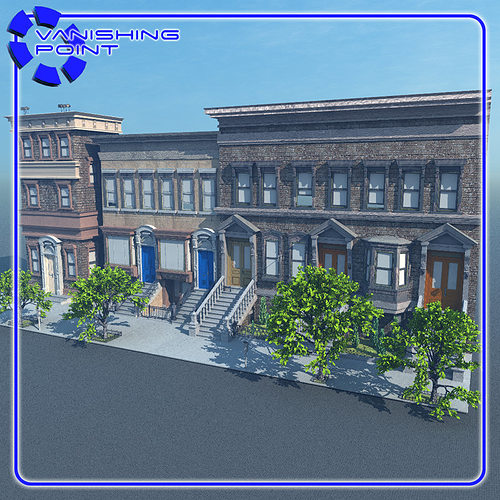 Brownstone street scene 1 for vue 3d model cgtrader for Architecture 3d vue 3d