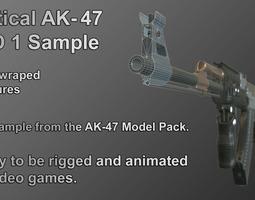 VR / AR ready PBR 3d model tactical ak-47 lod 1 sample