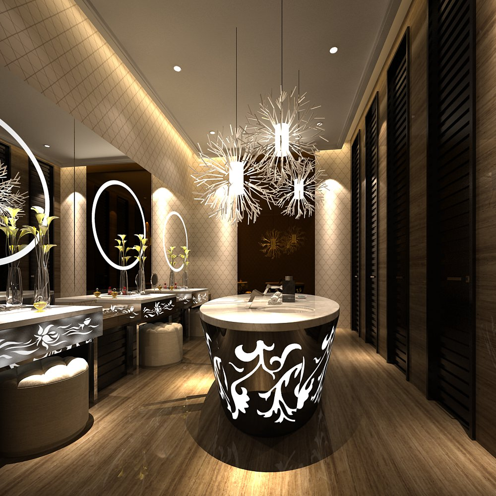 Modern Luxury Public Restroom Interior With Ornaments 3d Model Max 1