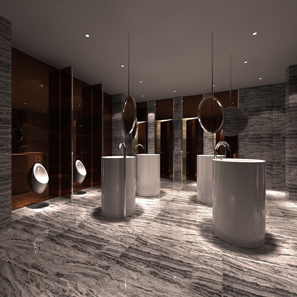 Modern luxury man restroom 3d model max Bathroom in chinese characters