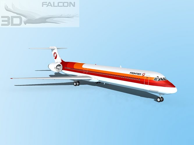 falcon3d md-80 frontier 3d model max obj mtl 3ds lwo lw lws dxf stl 1